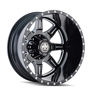Mayhem Monstir 8101 Gloss Black W/ Milled Spokes Rear