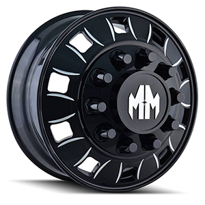 Mayhem Bigrig 8180 Gloss Black W/ Milled Spokes Front