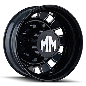 Mayhem Bigrig 8180 Gloss Black W/ Milled Spokes Rear